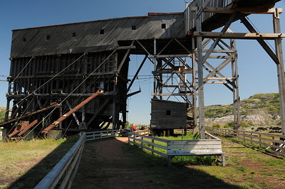 This tipple's purpose was to load coal arriving from the gantry onto waiting railway cars.  Tipples may also be designed to sort, store, and treat coal.  This Atlas Mine tipple is the last industrial/wooden tipple in North America.
