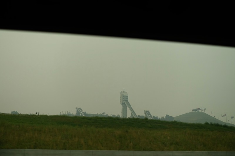 Our hike into the mountains was cancelled today because of all the smoke invading Calgary from the BC wild fires.  So the eight of us are off to Cochrane just a short drive west.