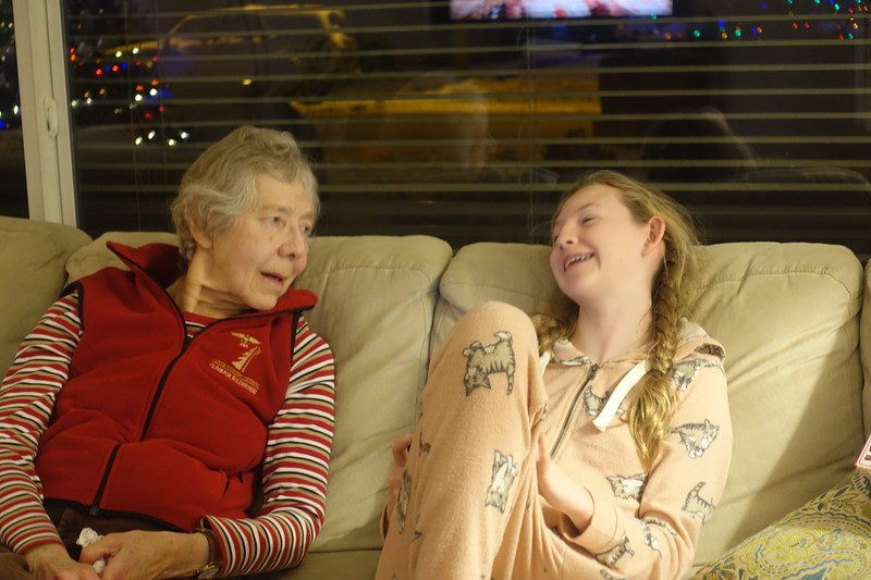 Gramma and Marin are certainly enjoying their conversation.