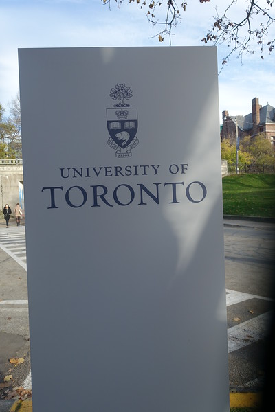 After leaving the cafe, we accompany Susan back to her work at the University of Toronto.