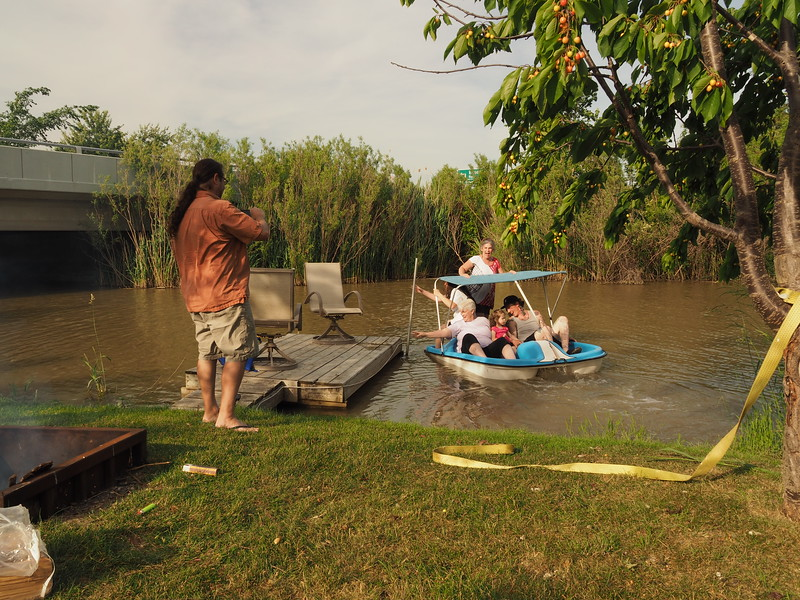 Mike and Nicole have just purchased a home in Belle River, and Duck Creek is their water playground which laps up onto their back yard.<br /> <br /> Mike is recording this intense moment of Nicole, who is standing, McKyla, Kelly, Trinity, and Brayden, in a frantic moment of attempting to anchor themselves to the dock.