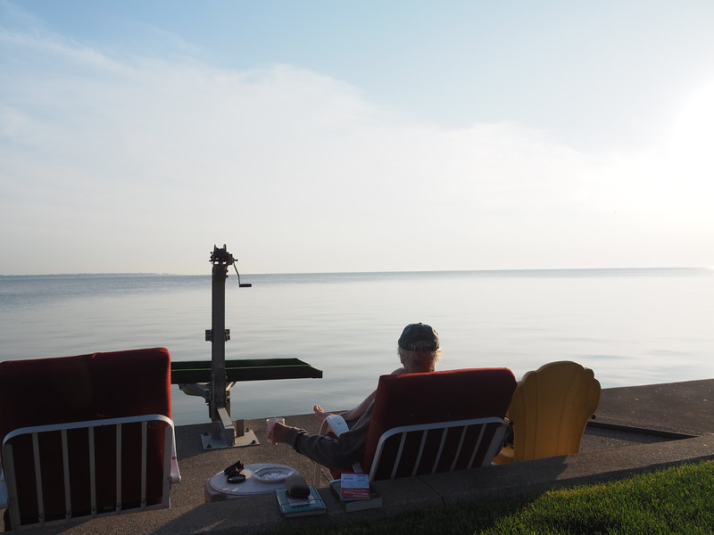 6:09 am<br /> <br /> It is just past 6am and I'm already through my bagel and getting settled in for some action on the lake.  I also have some reading material and my journal at hand.