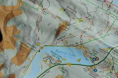 This map is more informed than the previous trail sign photo, but our trail route is the same.  We parked at the Barrier Dam Day Use.   Our lunch stop is at the Prairie View Viewpoint.  The intention of this hike was to have lunch at the viewpoint, then make the 1.4 km, 125 m height gain trek up to the Barrier Lake Fire Lookout, but the weather as it was made the trip not worth it.  Refer back to this map when in doubt of locations mentioned.