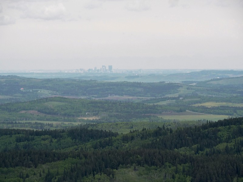 Looking over the foothills and a view of Calgary's skyline.