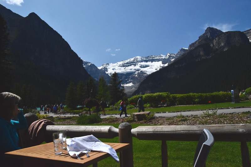 Victoria Glacier  <br /> <br />   From a Chateau Lake Louise patio we settled in for a bite to eat while enjoying the views.