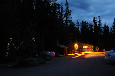 Later this day - the sun sets early in the mountains - I spent a few moments getting familiar with the hostel grounds. The kitchen and car taillight trails.