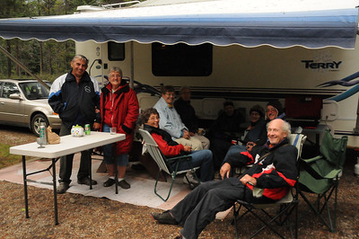 Some of our group stayed at Whistlers Campground in Jasper instead of the hostel. A few are hiding in the shadows.