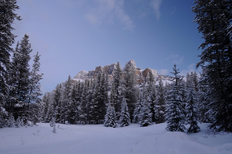 Castle Mountain at 6:15 am.