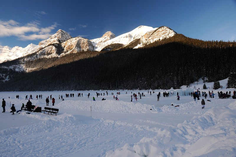 Although Lake Louise has seen the last of the sun rays for this day, it is only a quarter past one o'clock.  However that is time enough for us to head back towards the hostel.