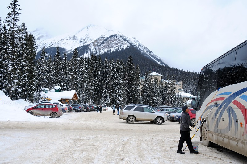 Most of our group are able to leave Calgary in the early to mid-morning on Friday, and arrive at the hostel, in Banff National Park, a couple of hours later.  After staking out our beds, and having a bite to eat,  some of us headed another twenty minutes up the highway to Lake Louise.