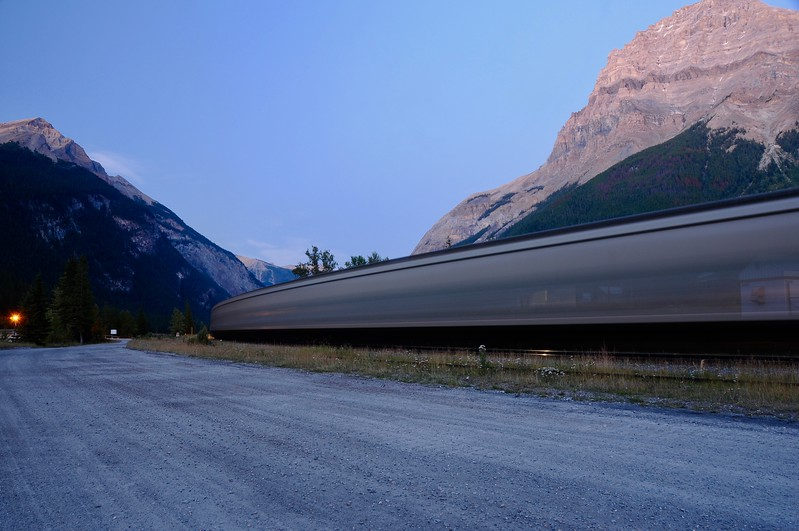 I do enjoy taking train pictures and this is one of my faves. <br /> <br /> I took this photograph while staying at the Fireweed Hostel in Field BC, in September of 2011.