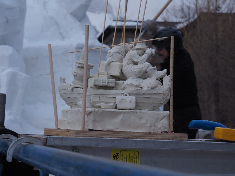 The plasticine models of the snow sculptures are pieces of art on their own.