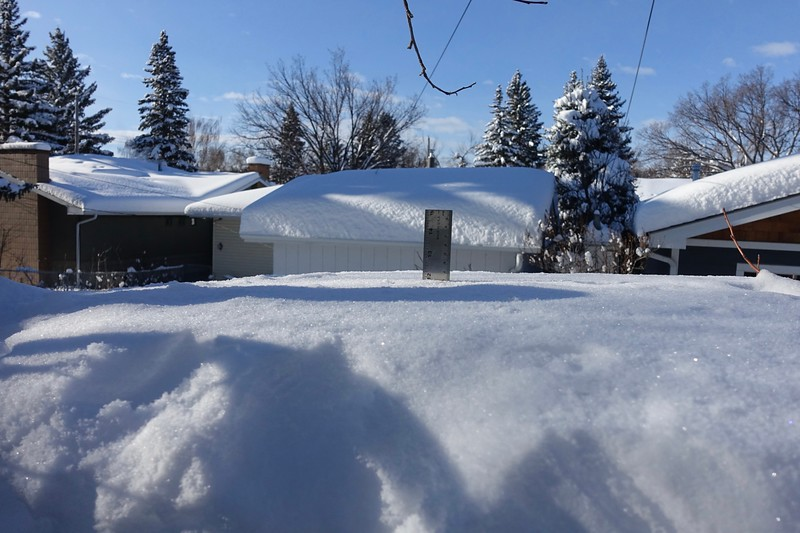 Clear skies, and time to get down to some serious snow removal.  But where to put it.