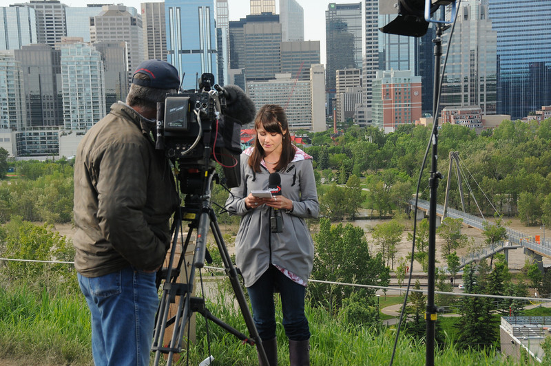 Television stations set up permanent locations to broadcast hourly reports.