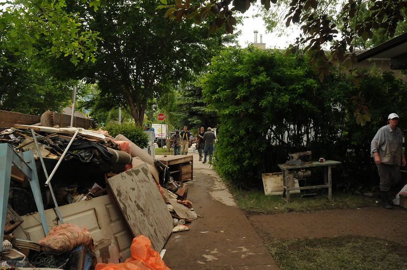 All damaged goods, which was most of everything in people's basements, was piled out onto the side of the street waiting for the city to collect it.