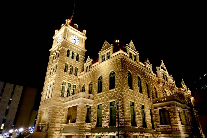 The Old City Hall building after restorations were completed on September 15, 2020. <br /> <br /> The building is constructed of Paskapoo Sandstone as were a number of other buildings of that time following the Calgary fire of 1866. <br /> <br /> The original City Hall building was opened in 1911.