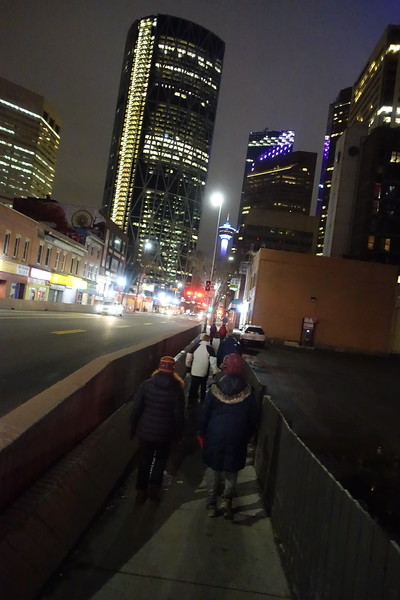 Entering Downtown.<br /> <br /> The Telus building is the one on the right with the row of slanted purple lights.<br /> The Bow Tower is the taller building.