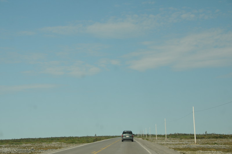 Many of the Newfoundland roadways were laid over a flat and barren landscape populated with short trees, bog, and bedrock.