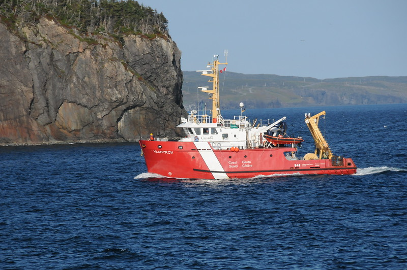 A Canadian Coast Guard cutter entering the harbour.