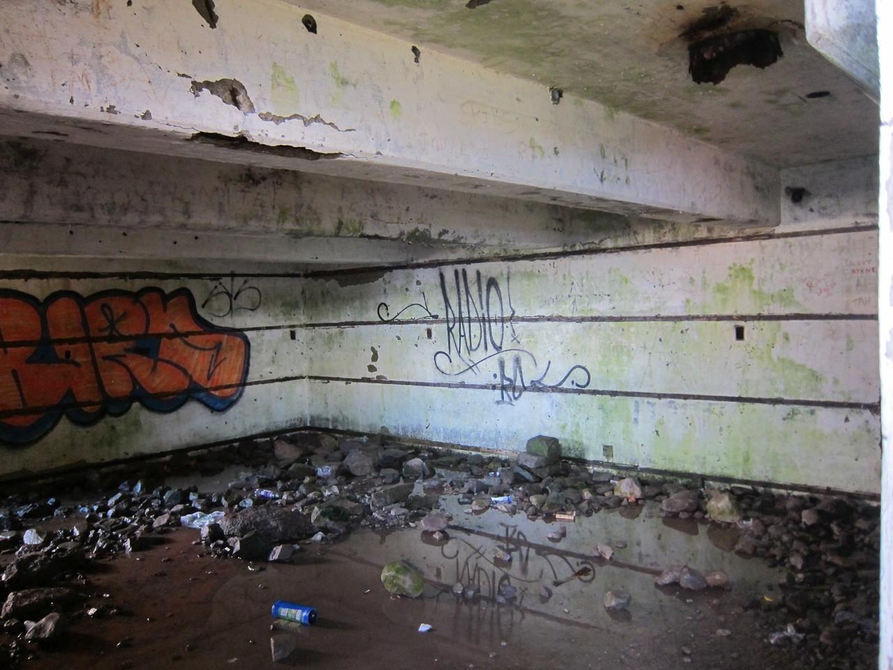 Inside a bunker.