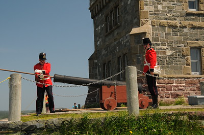 When preparing the cannon for firing, there is a three stage process involved, and each with its own special ramrod.   First the barrel is cleaned of any debris with a sponge, followed by driving the powder and ball into the breech with a rammer.  After firing, the last step is to clean the cannon barrel of post-firing residue.