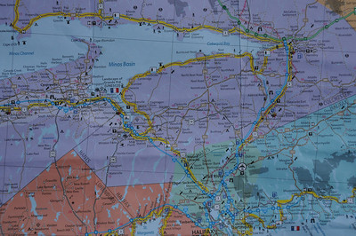 On Day 5. As Sharon and I left Cape d'Or, we  followed the shoreline east along Cobequid Bay, passed through Truro, and continued south on Route 102 to Dartmouth, at the bottom of the map.