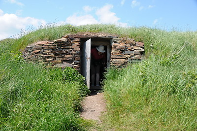 After having a suck or two from the growler, we drove a few kilometres down the coast to Puffin Viewing Site. Across the road from the puffin trail gate were some root cellars, with this one being an open house for viewing.