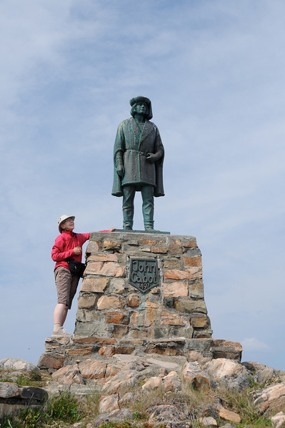 On our way back to the car, Sharon had a one-way conservation with John Cabot.
