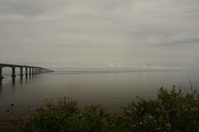 A view from the New Brunswick side of Northumberland Strait.<br /> <br /> It takes about eight minutes to cross the bridge, driving at the posted speed of 80 kilometres per hour.