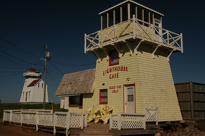 An operating lighthouse and a not-so- operating lighthouse.