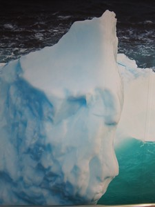 During our 6 hour crossing I made numerous trips from our inside viewing lounge on Deck 4, to the outside viewing promenade on Deck 7.  This is a portion of a  full-width wall mural--a photograph of an iceberg--I passed many times during my travels up and down the stairs.
