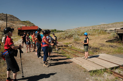 After everyone was outfitted with their individual headlamps and battery packs, our guide gave us a very brief history of the extraction of coal from the mine, and its journey down to the coal cars waiting at the tipple below.