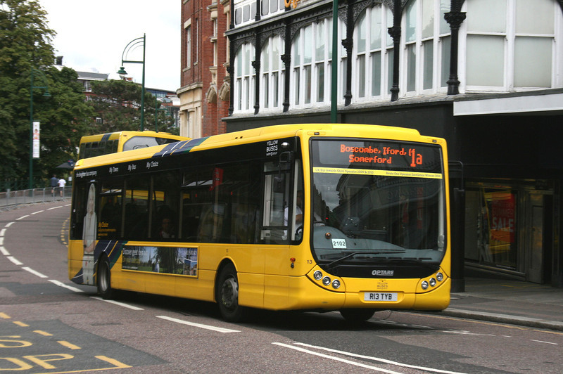 13, R13TYB, Yellow Buses, Gervis Place, Bournemouth