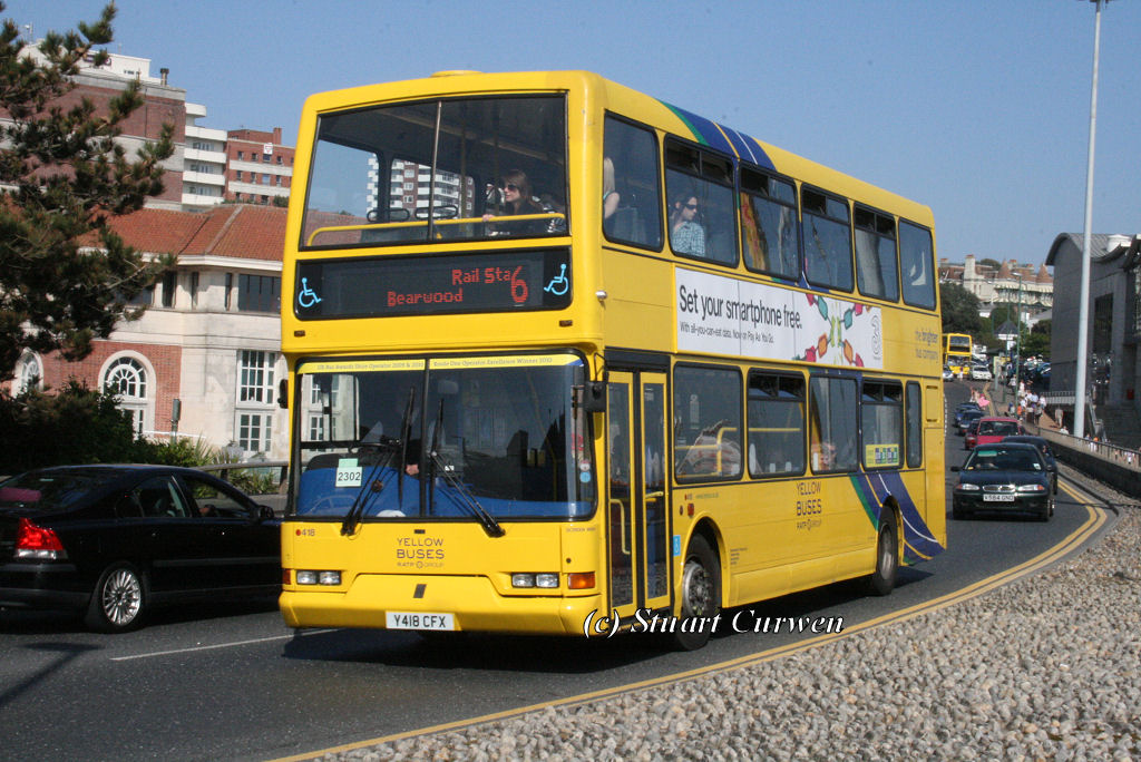 418, Y418CFX, Yellow Buses, Exeter Road, Bournemouth.