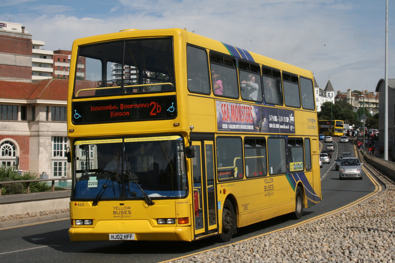 422, HJ02HFF, Yellow Buses, Exeter Road, Bournemouth