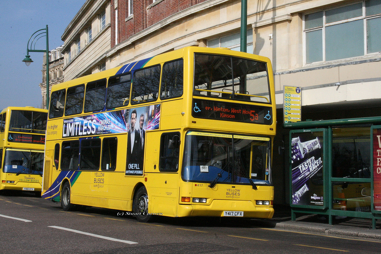 417, Y417CFX, Yellow Buses, Gervis Place, Bournemouth.