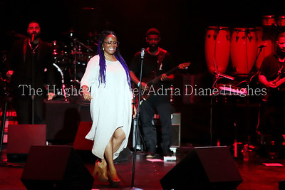 R&B singer, Lalah Hathaway performed live at the Dell Music Center kicking off their 2017 Essence of Music Concert Series in Philadelphia, Pennsylvania
