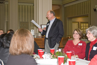 Al making speech at Christmas party.