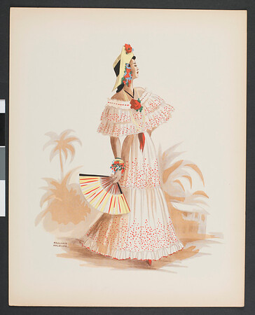 Drawings of people in local clothing, Central America and South America