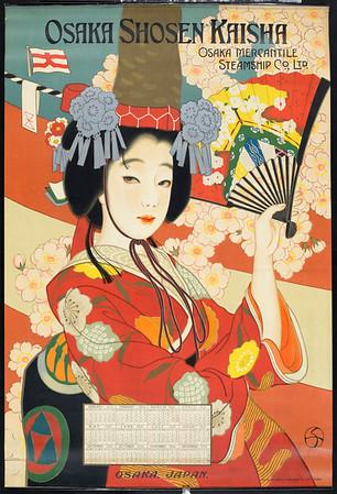 Osaka Shosen Kaisha = Osaka Mercantile Steamship Co., Ltd. [Woman in red kimono]