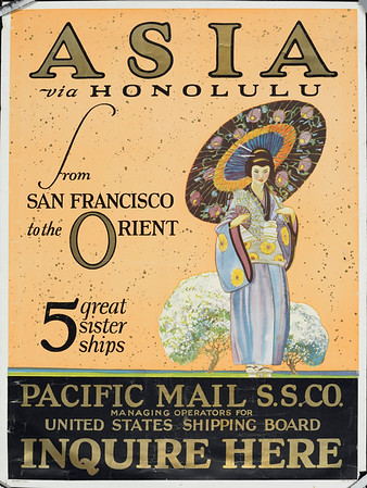 Asia via Honolulu from San Francisco to the Orient: 5 great sister ships [Woman with an umbrella]