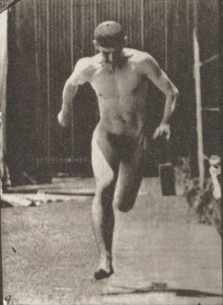 Nude man running
