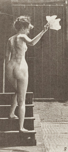 Nude woman ascending stairs, looking round and waving a handkerchief
