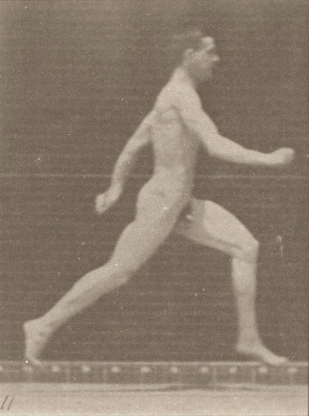 Nude man running at full speed