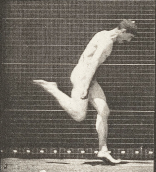 Nude man running
