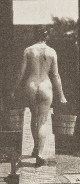 Nude woman ascending an incline with a bucket of water in each hand