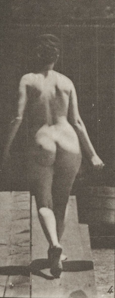Nude woman ascending an incline with a bucket of water in right hand