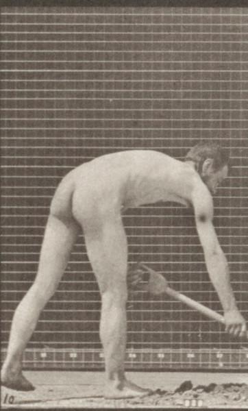 Nude farmer using a spade