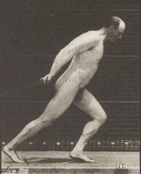 Nude man dragging a garden roller