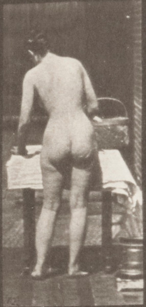 Nude woman ironing clothes